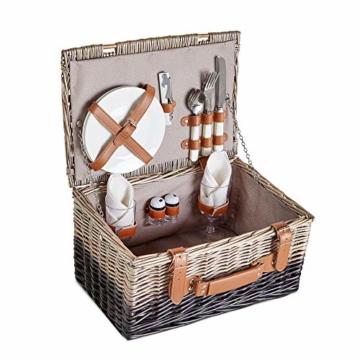 VonShef Korbgeflechter Picknickkorb für 2 Personen- Enthält Besteck (Gabel, Messer & Löffel), Teller, Weingläser, wasserdichte Decke, Servietten - Ideal für Strandausflüge & Camping - 1