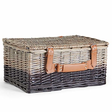 VonShef Korbgeflechter Picknickkorb für 2 Personen- Enthält Besteck (Gabel, Messer & Löffel), Teller, Weingläser, wasserdichte Decke, Servietten - Ideal für Strandausflüge & Camping - 5