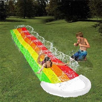 Wasserrutschen Für Kinder Draußen - Aufblasbare Wasserrutsche Garten - Dicke Strapazierfähige Slip Slide Slide Matte - Aufblasbares Sprühwasserspielzeug Für Kinder Erwachsene - 480 X 80 cm - 3