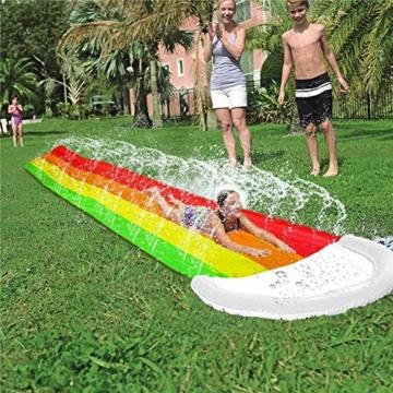 Wasserrutschen Für Kinder Draußen - Aufblasbare Wasserrutsche Garten - Dicke Strapazierfähige Slip Slide Slide Matte - Aufblasbares Sprühwasserspielzeug Für Kinder Erwachsene - 480 X 80 cm - 4
