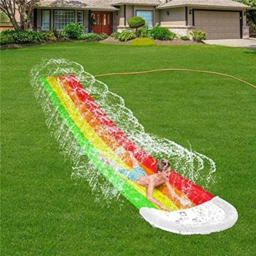 Wasserrutschen Für Kinder Draußen - Aufblasbare Wasserrutsche Garten - Dicke Strapazierfähige Slip Slide Slide Matte - Aufblasbares Sprühwasserspielzeug Für Kinder Erwachsene - 480 X 80 cm - 5