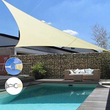 Wokkol Sonnensegel, Sonnenschutz Sonnensegel Dreieckig Sonnensegel Wasserdicht, Sonnenschutz Balkon Hergestellt aus Hochwertigem Polyester mit UV Schutz, 160 g/m2 für Garten/Balkon/Terrasse(5M*5M*5M) - 2