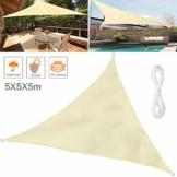Wokkol Sonnensegel, Sonnenschutz Sonnensegel Dreieckig Sonnensegel Wasserdicht, Sonnenschutz Balkon Hergestellt aus Hochwertigem Polyester mit UV Schutz, 160 g/m2 für Garten/Balkon/Terrasse(5M*5M*5M) - 1