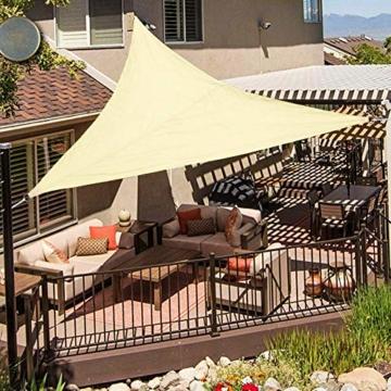 Wokkol Sonnensegel, Sonnenschutz Sonnensegel Dreieckig Sonnensegel Wasserdicht, Sonnenschutz Balkon Hergestellt aus Hochwertigem Polyester mit UV Schutz, 160 g/m2 für Garten/Balkon/Terrasse(5M*5M*5M) - 3