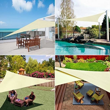 Wokkol Sonnensegel, Sonnenschutz Sonnensegel Dreieckig Sonnensegel Wasserdicht, Sonnenschutz Balkon Hergestellt aus Hochwertigem Polyester mit UV Schutz, 160 g/m2 für Garten/Balkon/Terrasse(5M*5M*5M) - 5