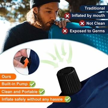wolketon Selbstaufblasende Isomatte Ultraleichter Camping Isomatte Wasserdicht Aufblasbare Luftmatratze Klein für Outdoor,Camping, Reise 190 * 60 * 3CM Grau - 5