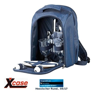 Xcase Thermorucksack: Thermo-Picknick-Rucksack mit Kühlfach, bestückt für 2 Personen (Picknickrucksack mit Kühlfach) - 1
