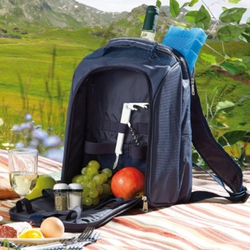 Xcase Thermorucksack: Thermo-Picknick-Rucksack mit Kühlfach, bestückt für 2 Personen (Picknickrucksack mit Kühlfach) - 6