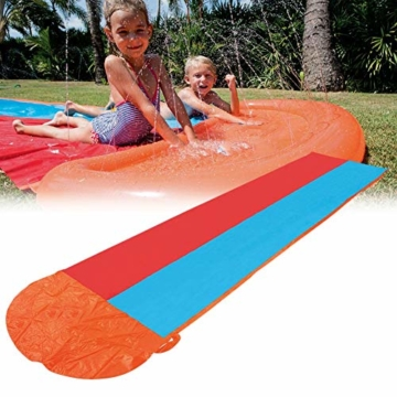 Zihui 5,5 M Wasserrutsche Mit Doppelschieber Aufblasbare Wasserrutsche Mit Dicker Rutsche Und Rutsche Sommerwasserrutschen Für Den Garten Spritzer-Sprint-Wasserrutsche - 5