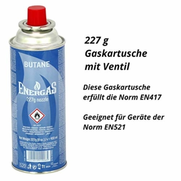(10,41 EUR/kg) 8x 227g Butan Gaskartuschen mit Ventil für Grill, Lötlampe, Campingkocher, Gasheizung, Gaskocher, Lötbrenner, Lötmeister, Bajonett-Ventilkartusche, Butangas, MSF-1a - 2