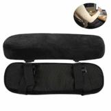 2 Stück Armlehnen Polster für Bürostuhl und Spielstuhl, Memory Schaum Arbeitsplatz Schreibtischstuhl Armlehnen Kissen für Ellenbogen Komfort , Armlehne für Ellbogen und Unterarmen Druckentlastung - 1