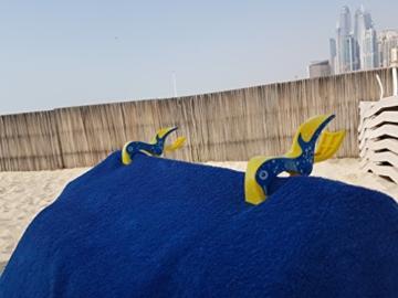 4 Stück Tuuli Beach Towel Clips - Hochwertige Strandtuchklammern im Premium Design (Sharky Türkis/Delphin Blau) - 5
