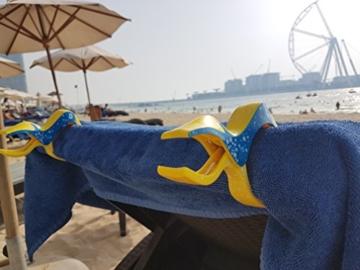 4 Stück Tuuli Beach Towel Clips - Hochwertige Strandtuchklammern im Premium Design (Sharky Türkis/Delphin Blau) - 6