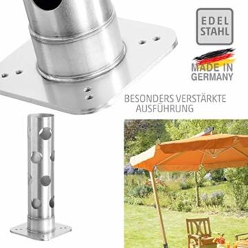 4smile Edelstahl Bodenhülse mit Bodenplatte – Sonnenschirm-Halter stolperfrei und sicher – Sonnenschirmständer mit Boden-Anker zum Einbetonieren – Made in Germany - 4