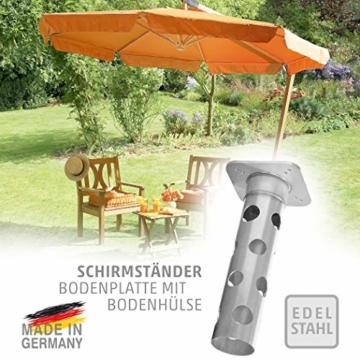 4smile Edelstahl Bodenhülse mit Bodenplatte – Sonnenschirm-Halter stolperfrei und sicher – Sonnenschirmständer mit Boden-Anker zum Einbetonieren – Made in Germany - 1