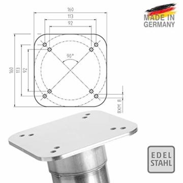 4smile Edelstahl Bodenhülse mit Bodenplatte – Sonnenschirm-Halter stolperfrei und sicher – Sonnenschirmständer mit Boden-Anker zum Einbetonieren – Made in Germany - 6