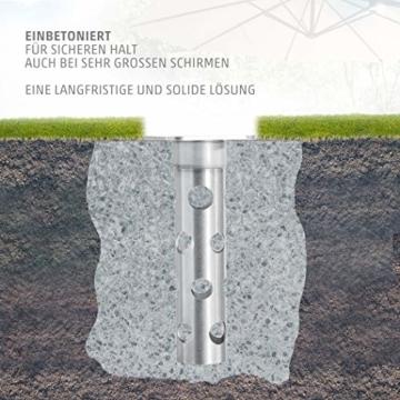 4smile Edelstahl Bodenhülse mit Bodenplatte – Sonnenschirm-Halter stolperfrei und sicher – Sonnenschirmständer mit Boden-Anker zum Einbetonieren – Made in Germany - 7