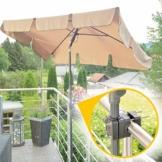 4smile Sonnenschirm Balkon + Sonnenschirmständer Set – Optimaler Sonnenschutz und Schatten für den Balkon – Komplett-Set aus Sonnenschirm rechteckig mit Sonnenschirmhalter Balkongeländer - 1