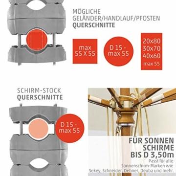 4smile Sonnenschirmhalter Balkongeländer – Sunnyman 2.0, der Alleskönner – Platzsparender und universeller Balkon Schirmhalter für alle Geländer und Sonnenschirme – Made in Germany - 2