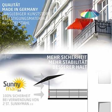 4smile Sonnenschirmhalter Balkongeländer – Sunnyman 2.0, der Alleskönner – Platzsparender und universeller Balkon Schirmhalter für alle Geländer und Sonnenschirme – Made in Germany - 3