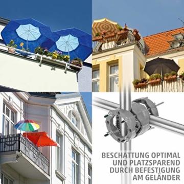 4smile Sonnenschirmhalter Balkongeländer – Sunnyman 2.0, der Alleskönner – Platzsparender und universeller Balkon Schirmhalter für alle Geländer und Sonnenschirme – Made in Germany - 4