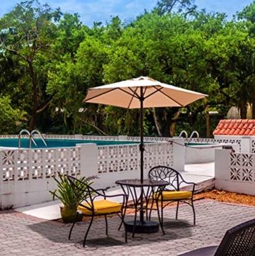 Aly Gartenschirm, 200 cm Rund Sonneschirm Sonnenschutz, Strandtisch Terrassenschirm Mit Nicht Verblassendem Belüftungsdeckel, 8 Stahlrippen - 3