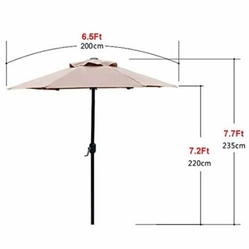 Aly Gartenschirm, 200 cm Rund Sonneschirm Sonnenschutz, Strandtisch Terrassenschirm Mit Nicht Verblassendem Belüftungsdeckel, 8 Stahlrippen - 4