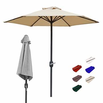 Aly Gartenschirm, 200 cm Rund Sonneschirm Sonnenschutz, Strandtisch Terrassenschirm Mit Nicht Verblassendem Belüftungsdeckel, 8 Stahlrippen - 1
