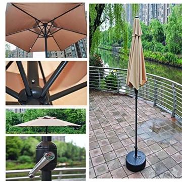 Aly Gartenschirm, 200 cm Rund Sonneschirm Sonnenschutz, Strandtisch Terrassenschirm Mit Nicht Verblassendem Belüftungsdeckel, 8 Stahlrippen - 5