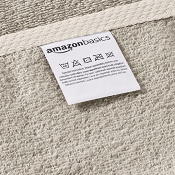 AmazonBasics - Handtuch-Set, schnelltrocknend, 2 Handtücher - Platingrau, 100% Baumwolle - 3