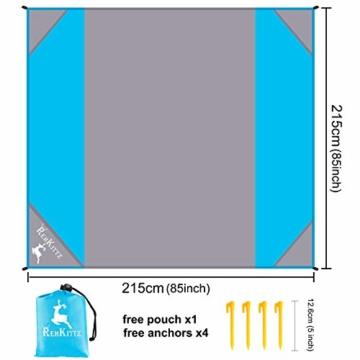 AMZOON 215 x 215 cm XXL Picknickdecke Wasserdicht Stranddecke Decke Für Ausflüge Beach Strandmatte - 2