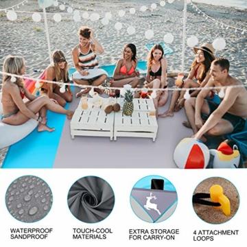 AMZOON 215 x 215 cm XXL Picknickdecke Wasserdicht Stranddecke Decke Für Ausflüge Beach Strandmatte - 4