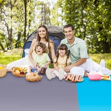 AMZOON 215 x 215 cm XXL Picknickdecke Wasserdicht Stranddecke Decke Für Ausflüge Beach Strandmatte - 6