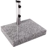 Anaterra Sonnenschirmständer, Schirmständer speziell für Balkon, aus Granit und Edelstahl, 25 kg, eckig, 45 x 35 x 7 cm - 1