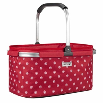 anndora Einkaufskorb 22 Liter Picknickkorb - rot weiß gepunktet - 1