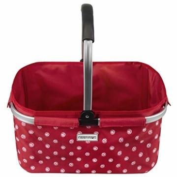 anndora Einkaufskorb 22 Liter Picknickkorb - rot weiß gepunktet - 2