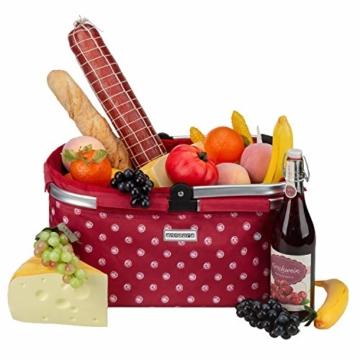 anndora Einkaufskorb 22 Liter Picknickkorb - rot weiß gepunktet - 7