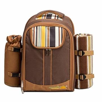 apollo walker Picknickrucksack für 2 Personen Picknick Rucksack Hamper Kühltasche mit Geschirr Set & Decke - 2