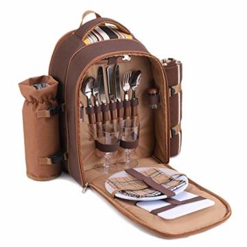 apollo walker Picknickrucksack für 2 Personen Picknick Rucksack Hamper Kühltasche mit Geschirr Set & Decke - 3