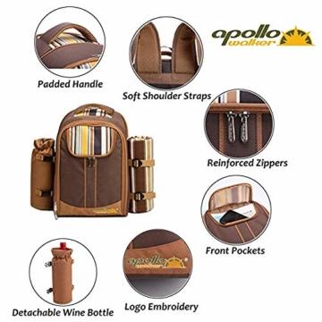 apollo walker Picknickrucksack für 2 Personen Picknick Rucksack Hamper Kühltasche mit Geschirr Set & Decke - 4