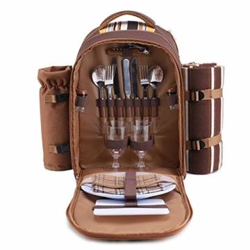 apollo walker Picknickrucksack für 2 Personen Picknick Rucksack Hamper Kühltasche mit Geschirr Set & Decke - 1