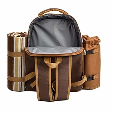 apollo walker Picknickrucksack für 2 Personen Picknick Rucksack Hamper Kühltasche mit Geschirr Set & Decke - 5