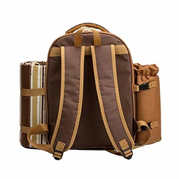 apollo walker Picknickrucksack für 2 Personen Picknick Rucksack Hamper Kühltasche mit Geschirr Set & Decke - 6