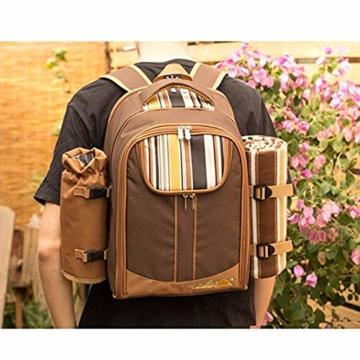 apollo walker Picknickrucksack für 2 Personen Picknick Rucksack Hamper Kühltasche mit Geschirr Set & Decke - 7