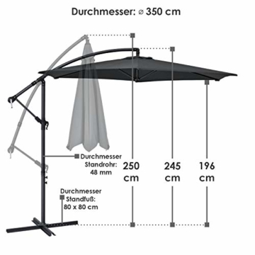 ArtLife Ampelschirm Brazil 300 cm LED-Beleuchtung Solar & Kurbel – UV-Schutz wasserabweisend knickbar – Sonnenschirm Marktschirm – grau - 4