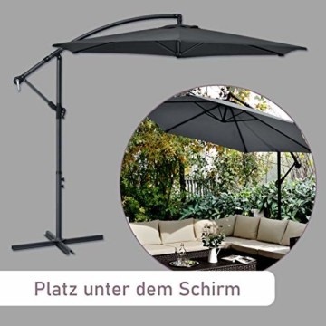 ArtLife Ampelschirm Brazil 300 cm LED-Beleuchtung Solar & Kurbel – UV-Schutz wasserabweisend knickbar – Sonnenschirm Marktschirm – grau - 6