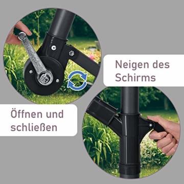 ArtLife Ampelschirm Brazil 350 cm LED-Beleuchtung Solar & Kurbel – UV-Schutz wasserabweisend knickbar – Sonnenschirm Marktschirm – grau/Creme - 2