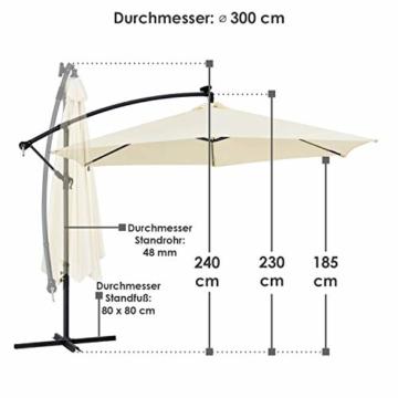 ArtLife Ampelschirm Brazil 350 cm LED-Beleuchtung Solar & Kurbel – UV-Schutz wasserabweisend knickbar – Sonnenschirm Marktschirm – grau/Creme - 3