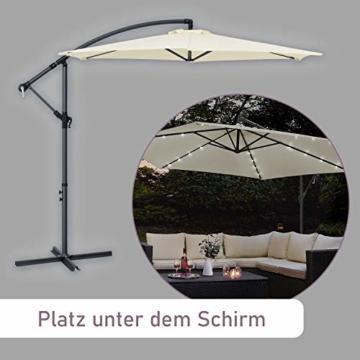 ArtLife Ampelschirm Brazil 350 cm LED-Beleuchtung Solar & Kurbel – UV-Schutz wasserabweisend knickbar – Sonnenschirm Marktschirm – grau/Creme - 4