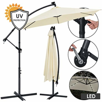 ArtLife Ampelschirm Brazil 350 cm LED-Beleuchtung Solar & Kurbel – UV-Schutz wasserabweisend knickbar – Sonnenschirm Marktschirm – grau/Creme - 1